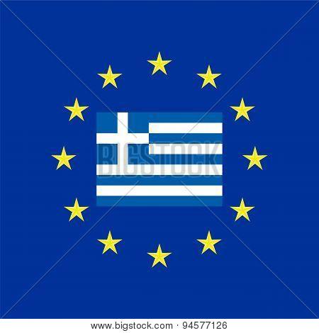 Flag Of Greece At The Eu Flag
