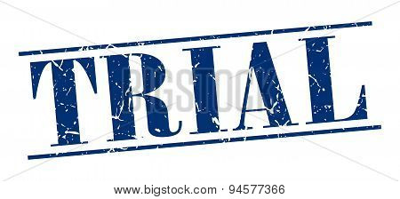Trial Blue Grunge Vintage Stamp Isolated On White Background