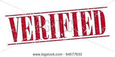 Verified Red Grunge Vintage Stamp Isolated On White Background