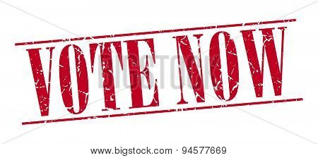 Vote Now Red Grunge Vintage Stamp Isolated On White Background