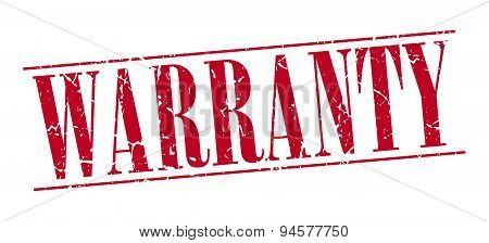Warranty Red Grunge Vintage Stamp Isolated On White Background