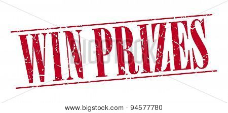 Win Prizes Red Grunge Vintage Stamp Isolated On White Background