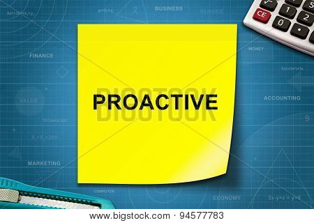 Proactive Word On Yellow Note