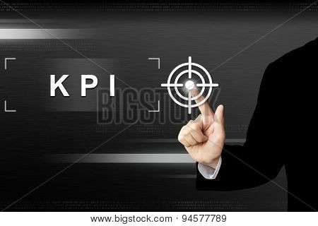 Business Hand Pushing Key Performance Indicator Or Kpi Button On Touch Screen