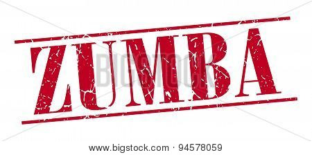 Zumba Red Grunge Vintage Stamp Isolated On White Background