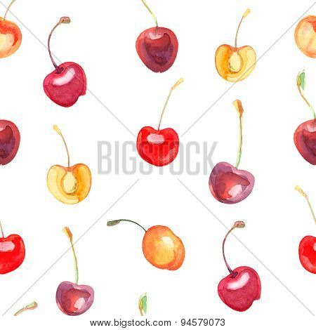 seamless pattern with cherries and sweet cherries