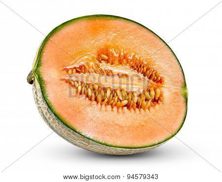 Ripe Melon Cantaloupe Fresh Juicy Slice Isolated On White Background