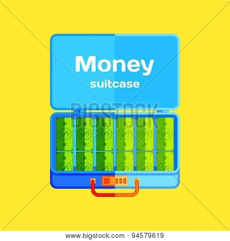Open suitcase with money .