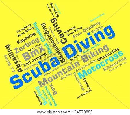 Scuba Diving Shows Divers Word And Underwater