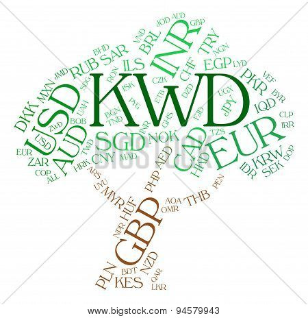 Kwd Currency Represents Foreign Exchange And Currencies
