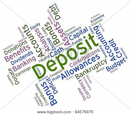 Deposit Word Shows Part Payment And Advance