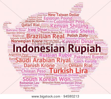 Indonesian Rupiah Represents Currency Exchange And Broker