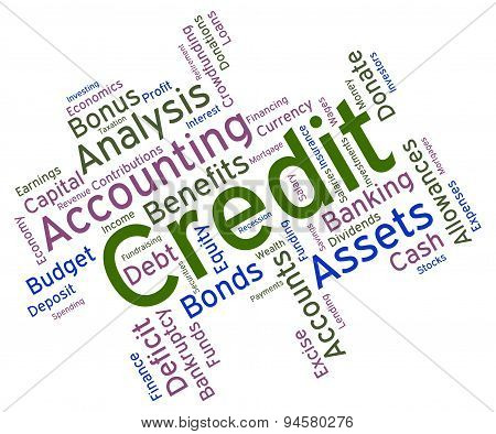 Credit Word Indicates Debit Card And Bankcard