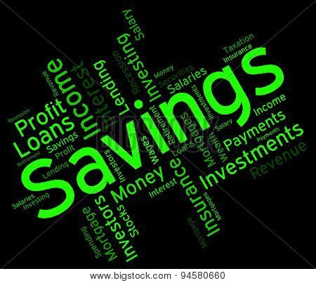 Savings Word Means Financial Wealthy And Text
