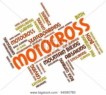 Motocross Words Represents Bike Enduro And Motorbikes