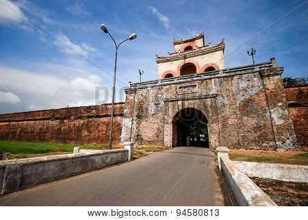 The Palace Gate Near The Moat In Hue