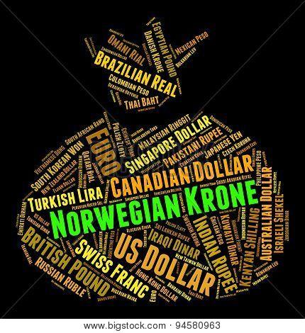 Norwegian Krone Means Currency Exchange And Broker