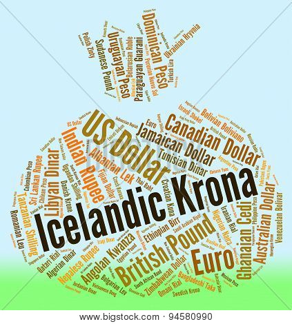 Icelandic Krona Means Currency Exchange And Coin