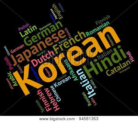 Korean Language Represents Wordcloud Languages And Word