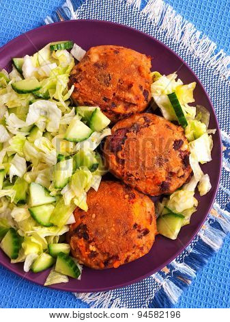 Fried Meatballs With Fresh Salad