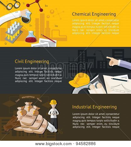 Chemical, Civil, And Industrial Engineering Education Infographic Banner Template Layout Background