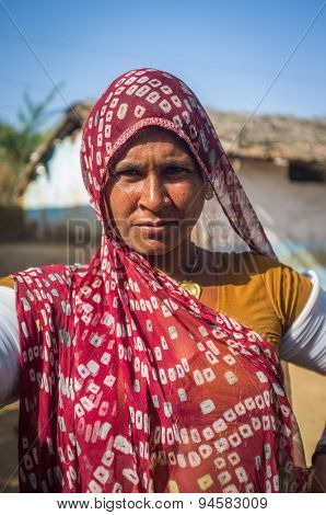 GODWAR REGION, INDIA - 13 FEBRUARY 2015: Rabari tribeswoman in sari decorated with traditional upper-arm bracelets. Rabari or Rewari are an Indian community from Gujarat.