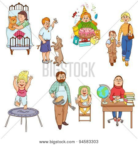 Parents with children cartoon icons collection
