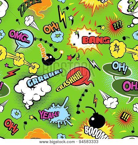 Colorful comics seamless bubbles pattern