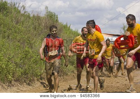 Baywatch Team At The Mud Run