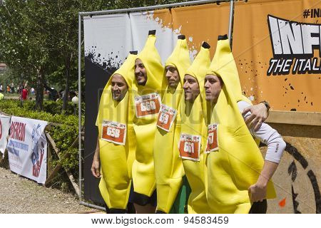 Participant At Inferno Run 2015  Funny Dressed As Bananas