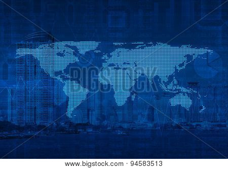 Dotted World Map On City Tower, Global Business, Elements Of This Image Furnished By Nasa