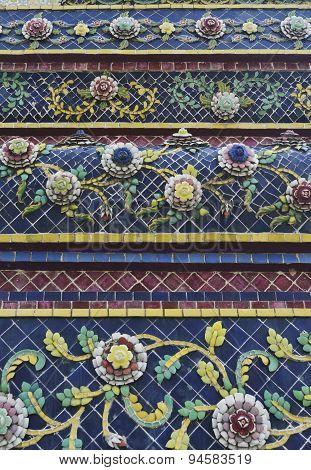 Tile Art Of Thai Pagoda At Grand Palace