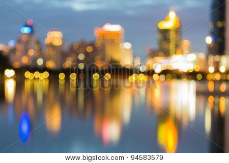Reflection of big city blur bokeh lights
