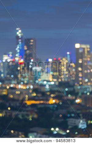 City skyline bokeh lights during twilight