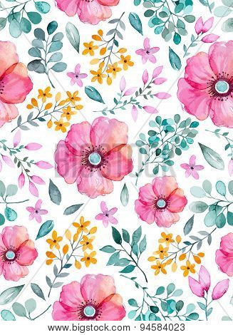 Watercolor floral seamless pattern with flowers and leafs. Colorful floral Vector illustration.