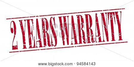 2 Years Warranty Red Grunge Vintage Stamp Isolated On White Background