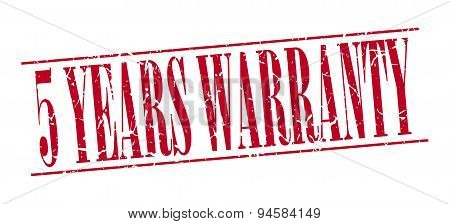 5 Years Warranty Red Grunge Vintage Stamp Isolated On White Background