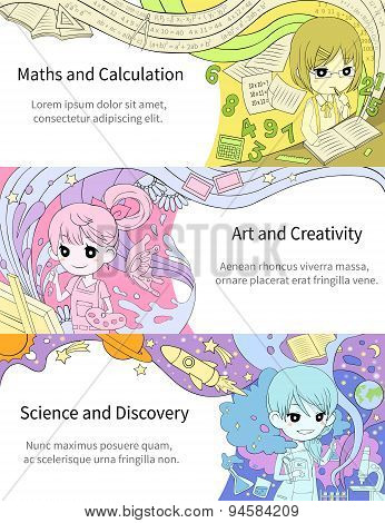 Stylish Infographic Cartoon Girl Children Studying Maths And Calculation, Art And Creativity, Scienc