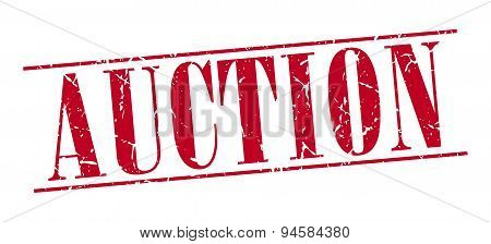 Auction Red Grunge Vintage Stamp Isolated On White Background