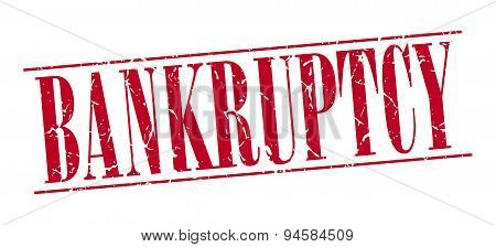 Bankruptcy Red Grunge Vintage Stamp Isolated On White Background