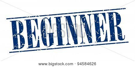 Beginner Blue Grunge Vintage Stamp Isolated On White Background