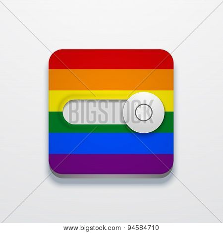 Vector modern lgbt flag button on gray background.