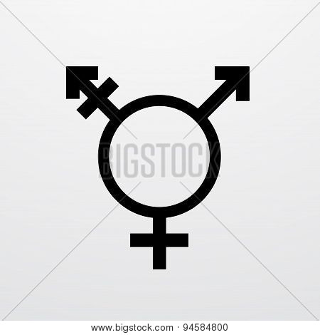 Vector modern transgender symbol on white background.