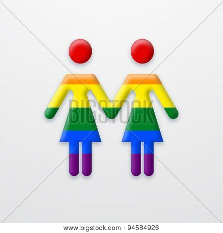 Vector modern lesbian two women on white background.