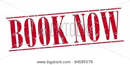 Book Now Red Grunge Vintage Stamp Isolated On White Background