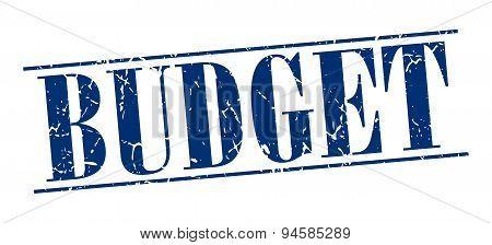 Budget Blue Grunge Vintage Stamp Isolated On White Background