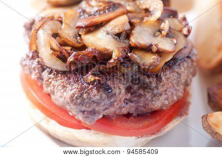 Grilled Sirloin Hamburger With Mushrooms