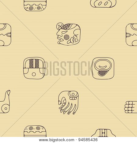 Seamless background with American Indians relics dingbats characters