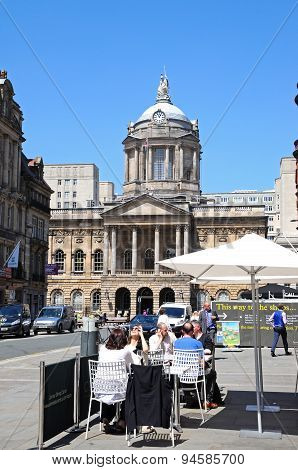Pavement cafe and Town Hall, Liverpool.