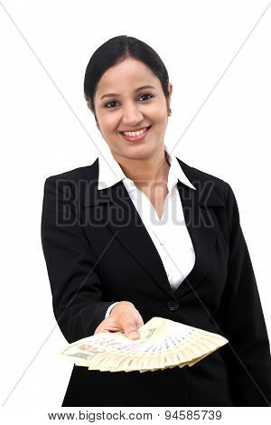 Young Business Woman Holding Indian Currency Notes